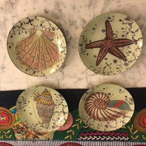 John Derian set of 4 round plates 5 inches EUC